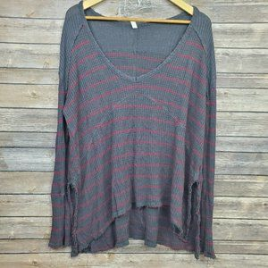 Free People Striped Thermal Drippy Sunset Waffle S